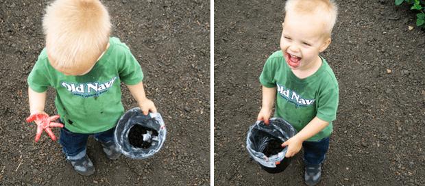 child berry picking