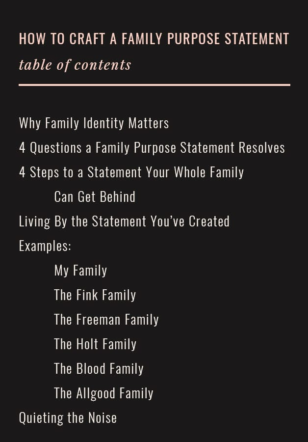 How to Craft a Family Purpose Statement: Table of Contents